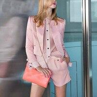 Для женщин розовый блейзер Шорты костюмы 2018 осень Офисные женские туфли модная полосатая с длинными рукавами шифоновая рубашка Широкие шта