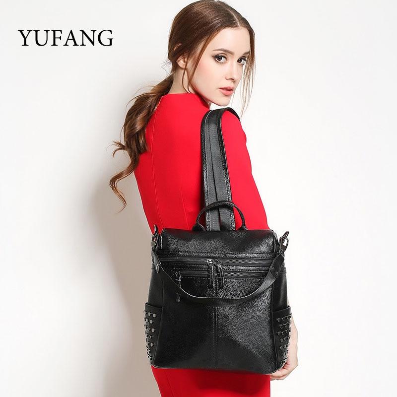 ФОТО YUFANG Brand Functional Black Women Backpack For Teenage Girls Genuine Leather Backpacks Bags Fashion Female School Daypack Bag