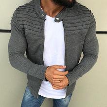 2019 Men Pleated Cardigan Coat With Zipper Casual Solid Men Outer Cloth Fashion Men Short  Slim Coat  With Mandarin Collar D40 цена