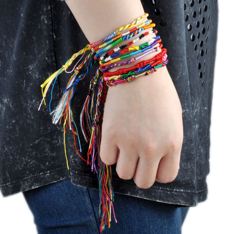 10Pcs/Lot Colorful Rainbow Rope Bracelets Handmade Braided Bohemian Beach Jewelry For Women Wholesale Charm Bracelet