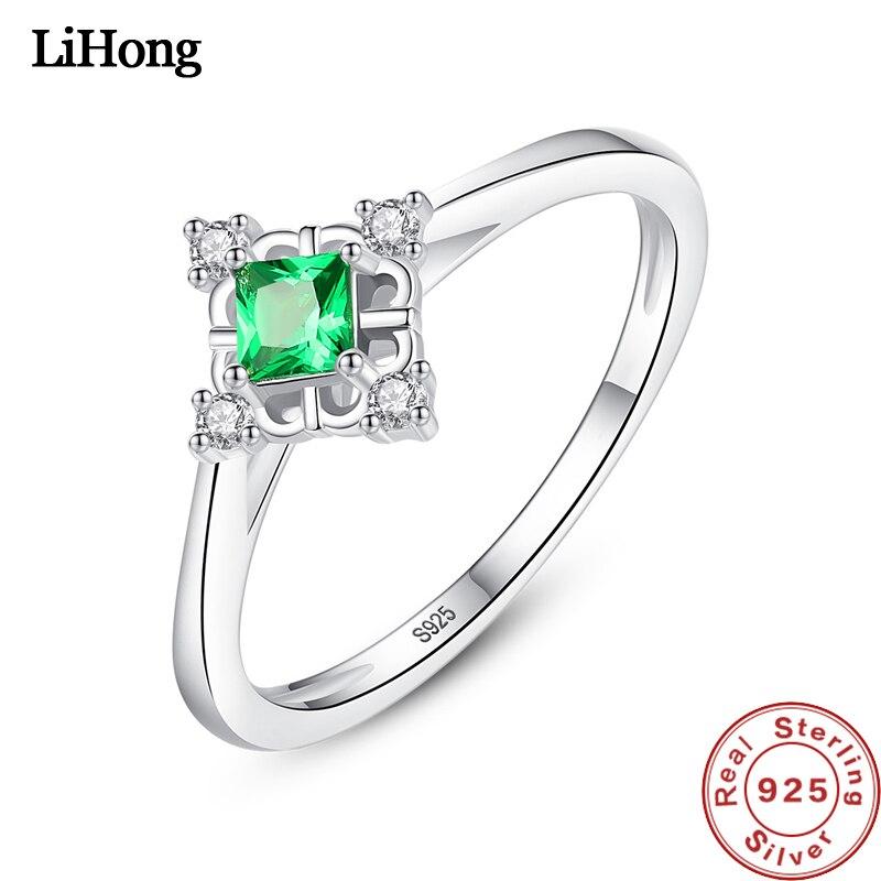 Authentische 925 Sterling Silber Ring Einfache Exquisite Smaragd Ring Für Frauen Hochzeit Partei Schmuck Geschenke Waren Des TäGlichen Bedarfs