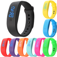 Womens Mens Rubber LED Watch Date Sports Bracelet Fashion Multi Color Waterproof Digital Wristwatches for Lovers Wholesale 30A26