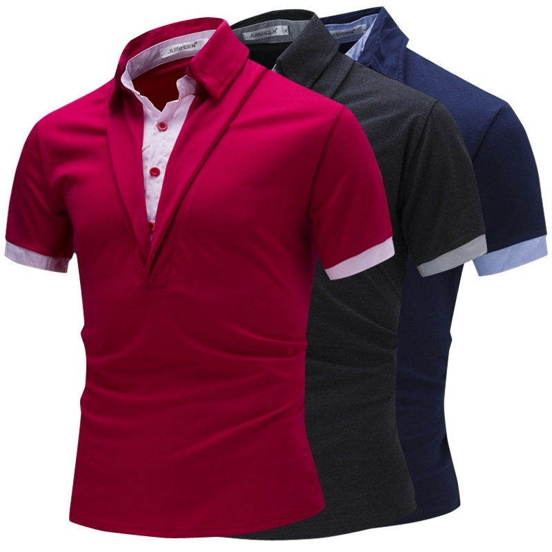 ZOGGA Men's Fashion Mens   Polo   Shirt Short Sleeve Striped   Polo   Shirts Two Pieces Cotta Vertical Collar Shirt Quality Tops Clothes