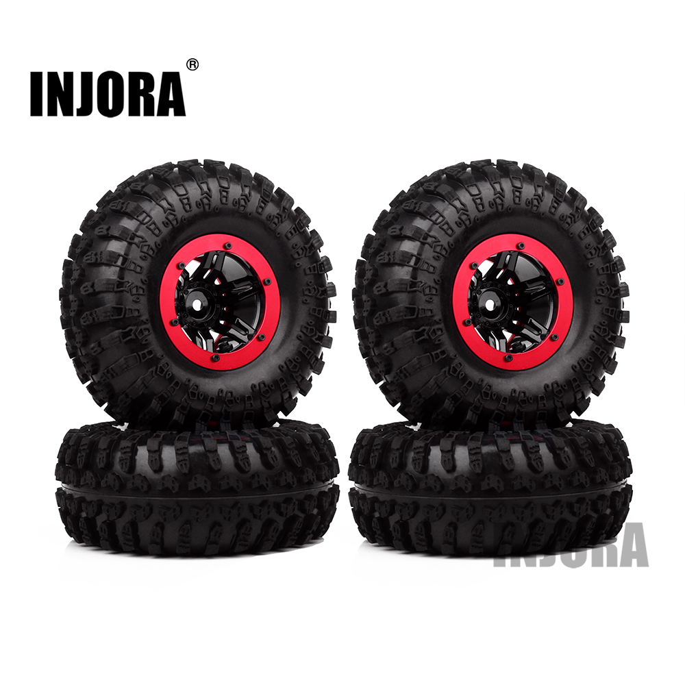 4PCS 2.2 Air Pneumatic Tires & Beadlock Wheel Rim for 1:10 RC Rock Crawler SCX10 AX10 Wraith 90056 90045 90031 YETI 90026 90025 mxfans rc 1 10 2 2 crawler car inflatable tires black alloy beadlock pack of 4