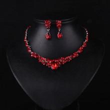 فاخر الأحمر قلادة مجموعات مجوهرات الأفريقية الشظية مطلي قلادة مجموعة أزياء النساء الكريستال الزفاف اكسسوارات الزفاف