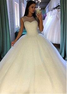 Image 3 - הניצוץ נצנצים טול תכשיט מחשוף כדור שמלת חתונת שמלה עם Beadings Sleevelss כלה שמלות vestido דה festa לונגו