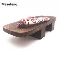 Mazefeng الصيف أحذية كعب الصلبة الرجال النعال الرجال الصنادل المتأرجح قباقيب خشبية جيتا الياباني تأثيري قباقيب أحذية رجالية geta 741