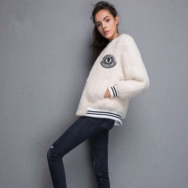 2017 New 100% Real Mink Knitted fur Short Jacket, Natural Mink Fur Coat BE-1708 Free shipping 5
