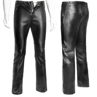 Plus Size Sexy Lingerie Exotic Pants PU Latex Catsuit Zipper Stage Clubwear Exotic Pants Gay Mens Plus Big Size