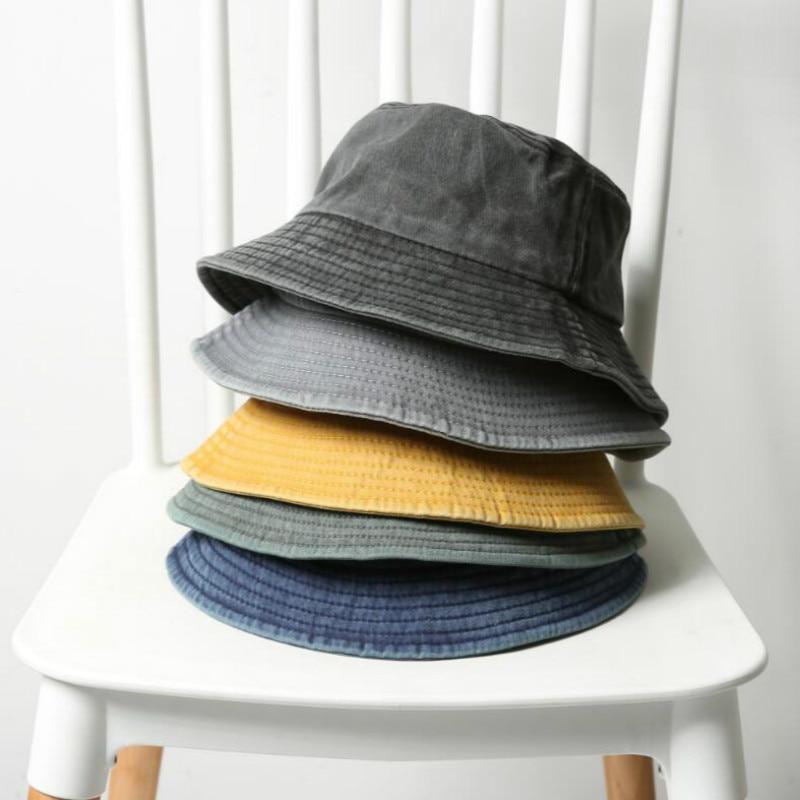 Foldable Denim Bucket Hat Cotton Washed Fishing Hunting Cap Outdoor Beach Fisherman Panama Women's Bucket Hat K Pop Bob Dropship