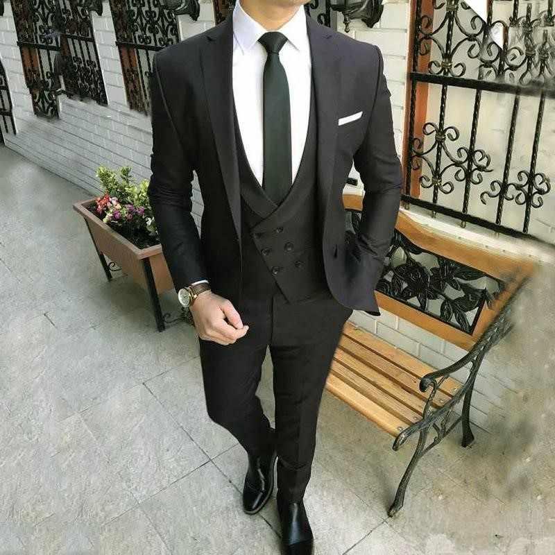 ブラックラペル男性のためのスーツ Terno スリム新郎カスタム 3 ピース結婚式メンズスーツ Masculino (ジャケット + パンツ + ベスト)