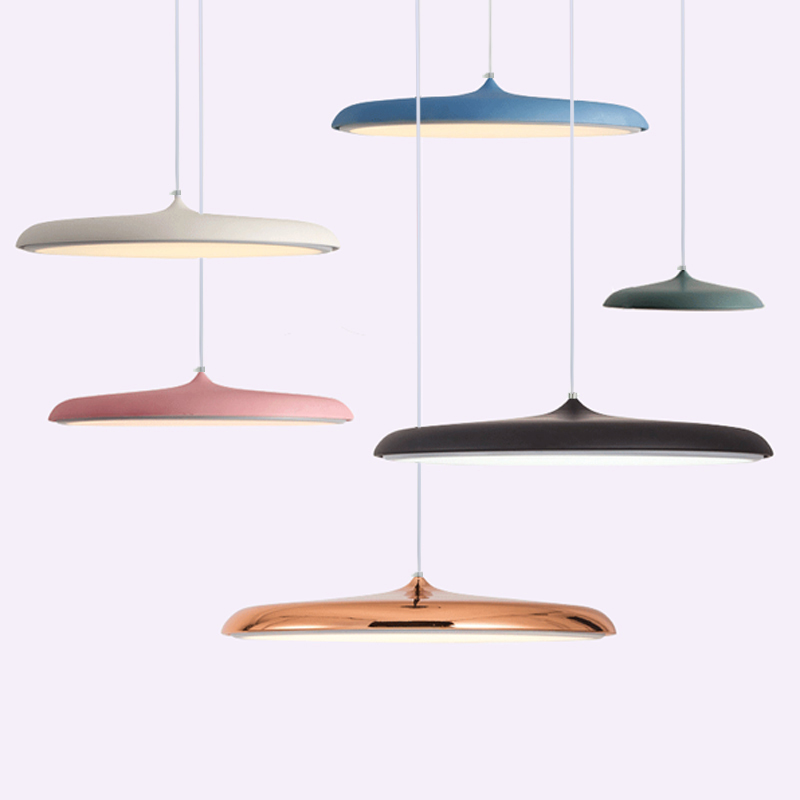 Decorative Art UFO Creative Pendant Lights Macaron Nordic Acrylic Lamps For Restaurant Cafe Kitchen Hall Aluminum Hanging Lamp