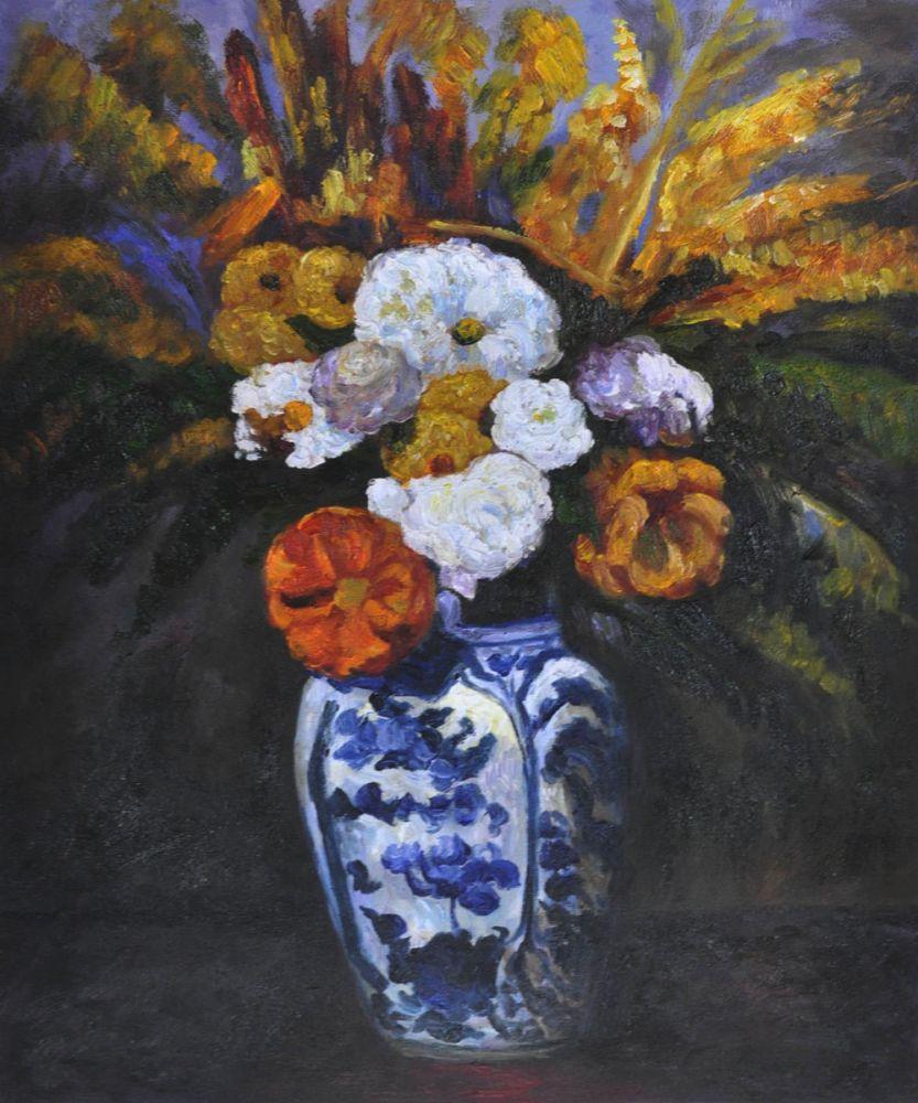 Peint à la main Paul Cezanne peinture à l'huile sur toile Dahlias fleur peinture nature morte décoration murale Art pour salle à manger 50x60 cm