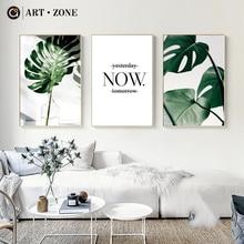 Art zone pintura de lona nórdica impresiones modernas pósteres artísticos de hojas impresiones verde cuadros artísticos de pared sala de estar cartel sin marco