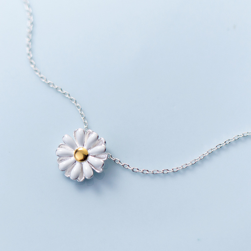 MloveAcc 100% 925 Sterling Silver Blooming Yellow Daisy Flower Pendant Necklace For Women Luxury Silver Jewelry