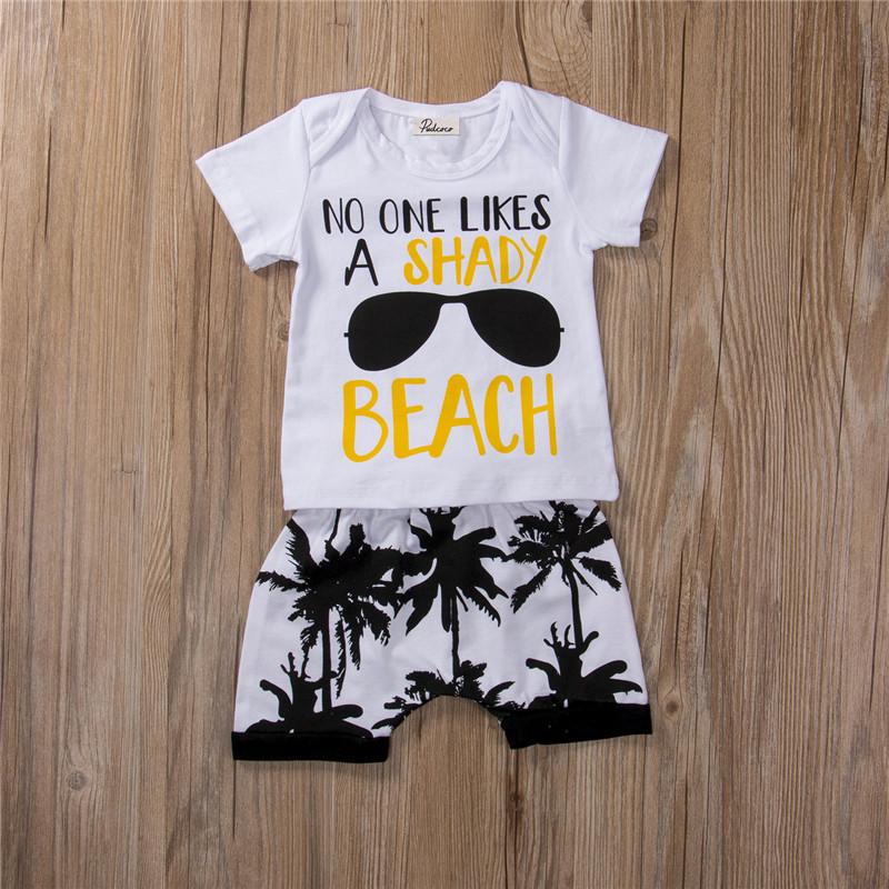 6M-3 years Children Clothing Set beach Letter T-Shirt+ Pants Cotton suit Summer Casual Outfits for Boy Clothes Set Baby fashion baby girl t shirt set cotton heart print shirt hole denim cropped trousers casual polka dot children clothing set