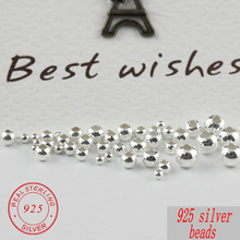 2-5MM 925 sterling silver beads for silver 925 jewelry Accessories round smooth jewelry beads for silver bracelet & necklace