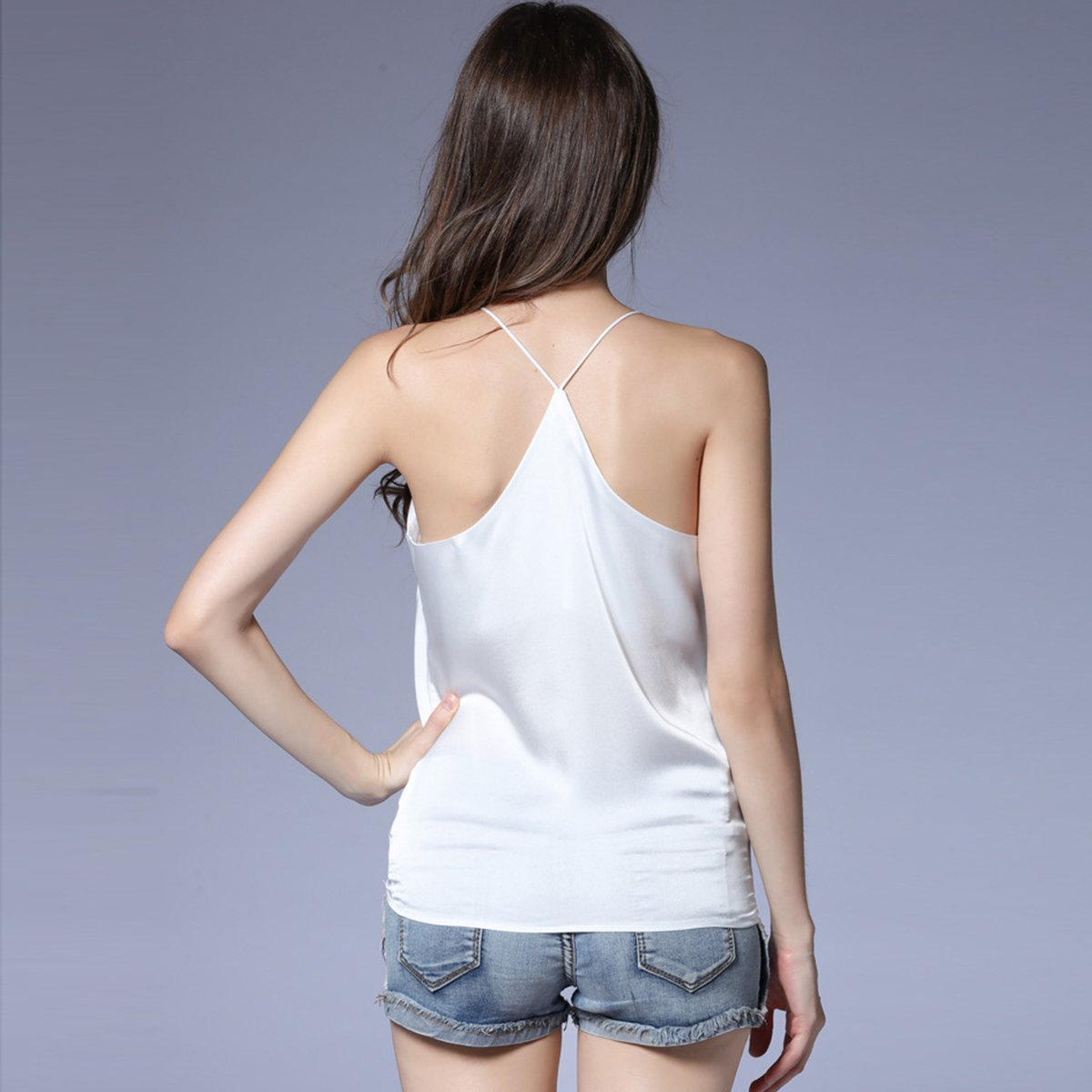 2017 new summer Sexy Faux silk women Strappy tank top deep o neck camisole sleeveless Casual Smooth Bottoming Vest tops 3