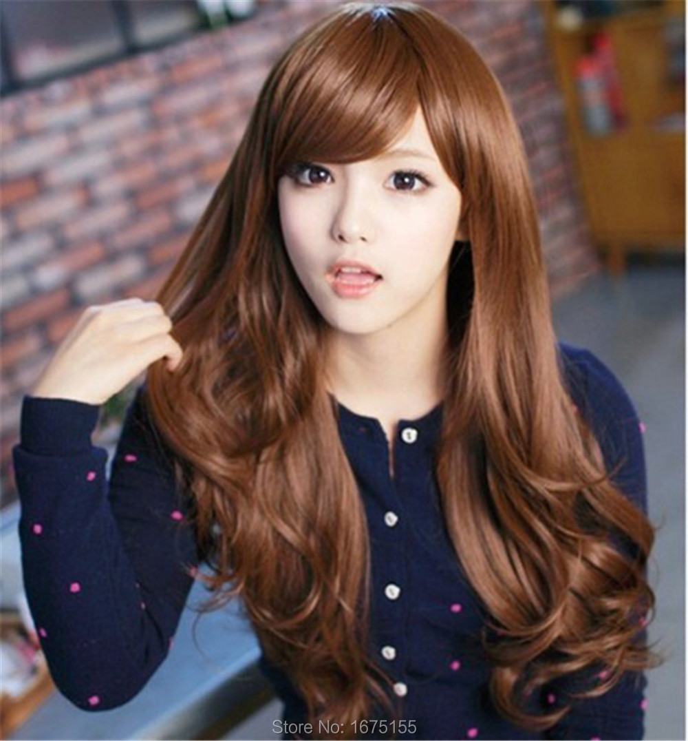 New Korean Style Long Wave Ladys Wigs Synthetic Hair