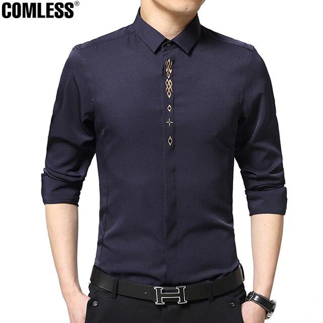 Старший Бизнес Рубашки Мужчин 2016 Новые Моды Марка Англия Вышивка Дизайнер Платье С Длинным Рукавом Рубашки Mens Clothing 4XL 5XL