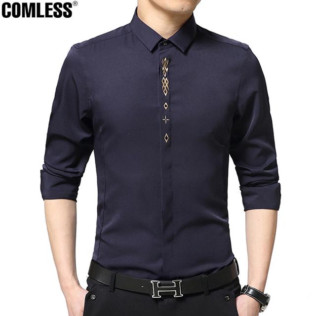 Camisas de los hombres de negocios de alto nivel 2016 la más nueva manera marca inglaterra camisa de vestir para hombre del diseñador del bordado de manga larga clothing 4xl 5xl