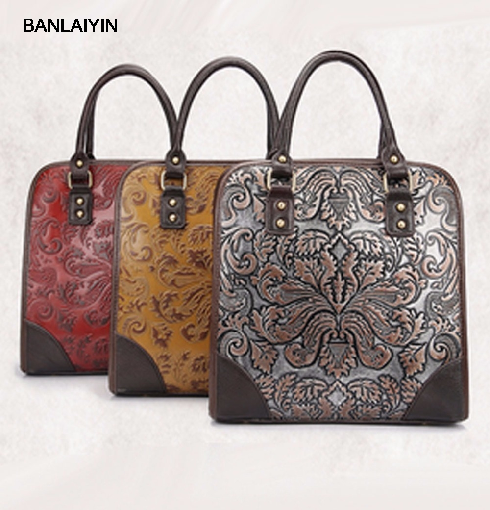 Women Vintage Trend Genuine Leather Embossed Tote Bag Casual Crossbody Messenger Shoulder Bags Famous Brand Cowhide Handbag new women vintage embossed handbag genuine leather first layer cowhide famous brand casual messenger shoulder bags handbags