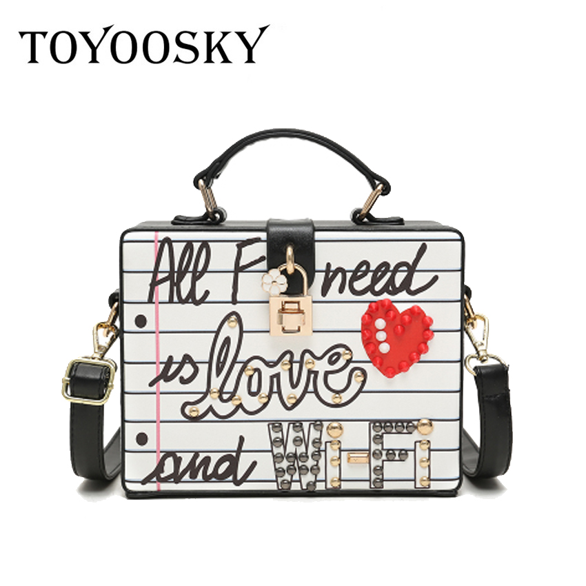 c7d2cb20a251 TOYOOSKY Women Box Handbag Fashion Evening Party Shoulder Bags Pearl rivets  graffiti Crossbody Bag Ladie Letter Diamonds Clutch-in Shoulder Bags from  ...