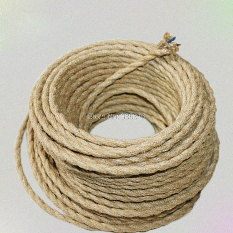 Beige 2/4/5/10 metros Cable eléctrico vintage cuerda de cáñamo tejido textil Cable trenzado lámpara colgante retro Line 7