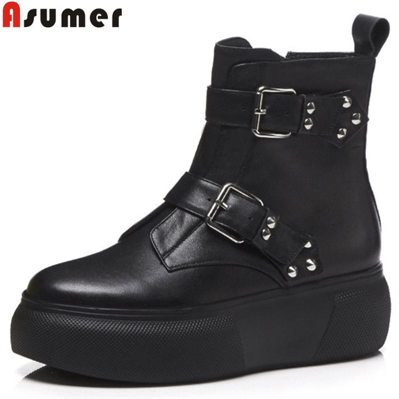 ASUMER black fashion autumn winter boots round toe zip genuine leather boots buckle flat platform ankle boots for women asumer black fashion 2018 autumn winter boots women round toe zip mixed colors ankle boots flat with suede leather boots