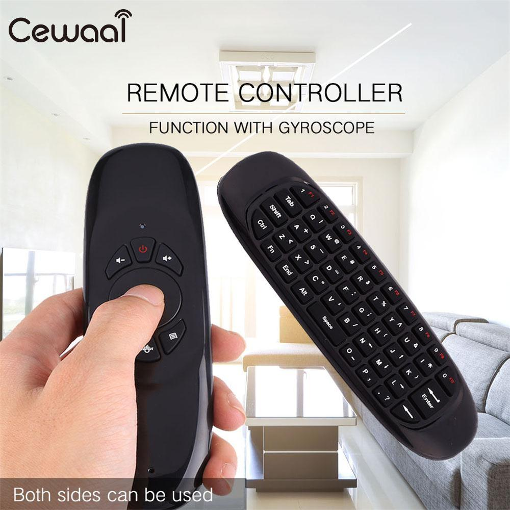 Cewaal 2.4G LED Wireless Remote Control QWERTY Keyboard Air Mouse For Android Linux RC Controllers