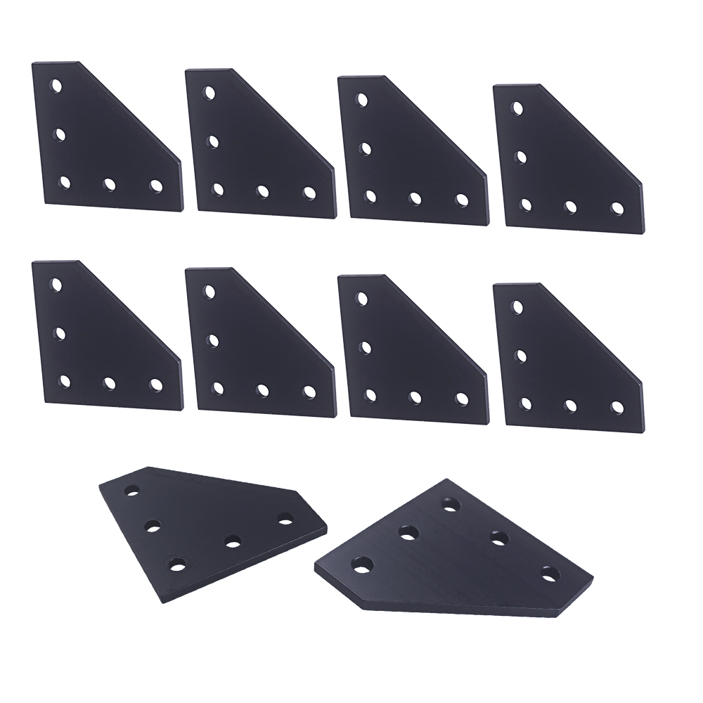 3D Printer 90 Degree  60 X 60 X 4MM L Type With 5 Hole Black Joining Plates For CNC 2020 V-slot Aluminum Profiles Pack Of 10