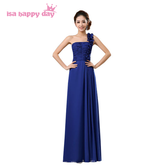 Royal Blue Chiffon One Shoulder Brides Maid Bridesmaid Guest Dresses Bridemaid Dress 2019 For The Adult To The Ball B007