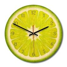 Fruit Printed Wall Clock Wooden Circular Needle Kitchen Home Hanging Decor