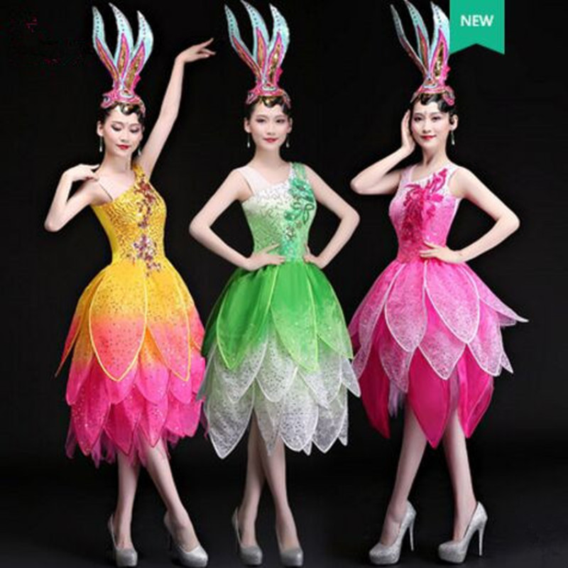 chinese national dance dress for women flower dance dress colorful dance festival dance dress new year