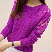 2018 mùa xuân hot O-Cổ dài tay áo Phụ Nữ thun áo len mùa thu thời trang vai ren trong suốt dệt kim áo len blouseLU513