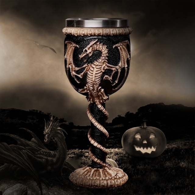 Gothic Skull Dragon Skeleton Design Wine Goblet Cups