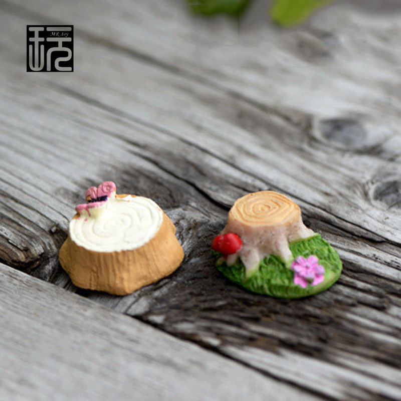Zakka Resin Butterfly Stump Ornament Mini Crafts DIY Fairy Garden Miniatures Home/ Succulents/ Micro Moss Landscape Decoration