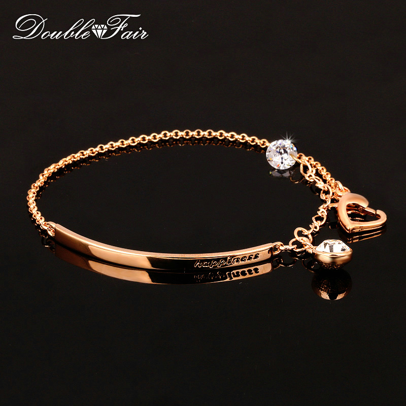 Double Fair OL Style Cubic Zirconia Beads Charm Bracelets & Bangles Rose Gold Color Fashion Crystal Jewelry For Women DFH195
