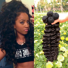 Pelo malasio de la virgen de la onda profunda 4 Bundles 6A humano Natural negro rizada profunda del pelo humano de la onda profunda extensiones paquetes de pelo
