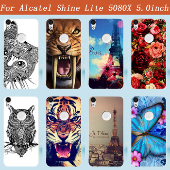 Fashion New DIY Butterfly Flowers Cat Owl Eiffel Tower printed Painting TPU Silicone Case For Alcatel Shine Lite 5080X 5.0inch image