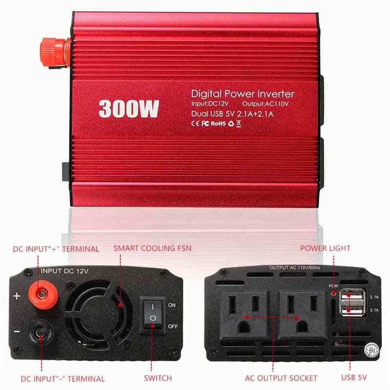 300 Вт Инвертор 12 В к AC 110/220 вольт 2 USB макс 600 Вт модифицированный ЖК-монитор Синусоидальная волна цифровой автомобильный преобразователь заряда трансформатор