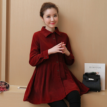 1076# Pleated Waist Button Corduroy Maternity Blouses 2017 Spring Korean Fashion Pregnancy Tunic Tops Clothes For Pregnant Women