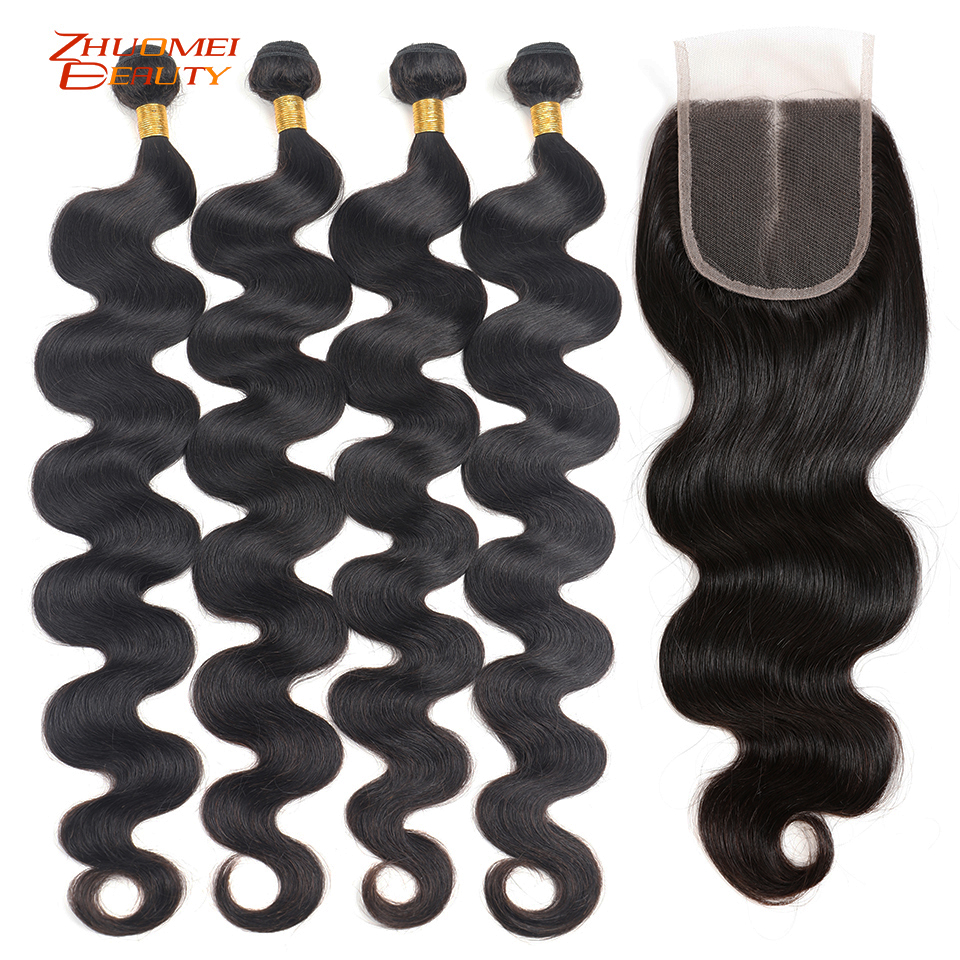 28 30 32 Inch Bundles With Closure Peruvian Hair Bundles With Closure Body Wave Bundles With