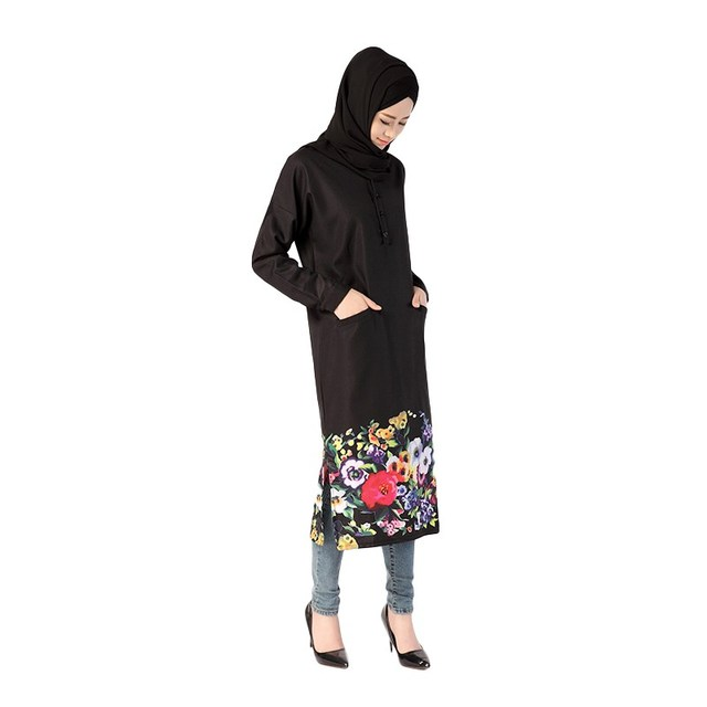 Muslim Costume Dress Women Flowers Printed Dress World Apparel Style Islam Long Sleeve Dress Arab Jilbab Abaya Dresses