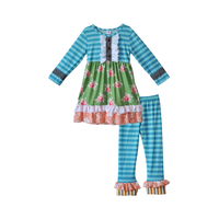 New Designs Girls Boutique Clothing Sets Full Sleeve Print Ruffle Dress Blue Striped Pants Fall Wholesale Baby Clothing F153