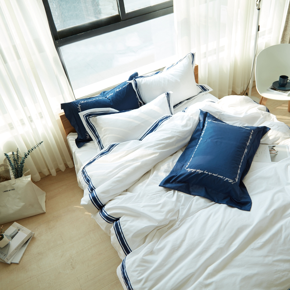 Ribbon embroidery bedspread designs - 100 Cotton Embroidery Duvet Cover Set 6pcs Blue Ribbon Bedding Set Queen King Quilt Cover White