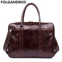 New Fashion Men Genuine Leather Briefcases Designer Computer Handbag Brand Vintage Business Document Laptop Bags Cowhide Bolsa