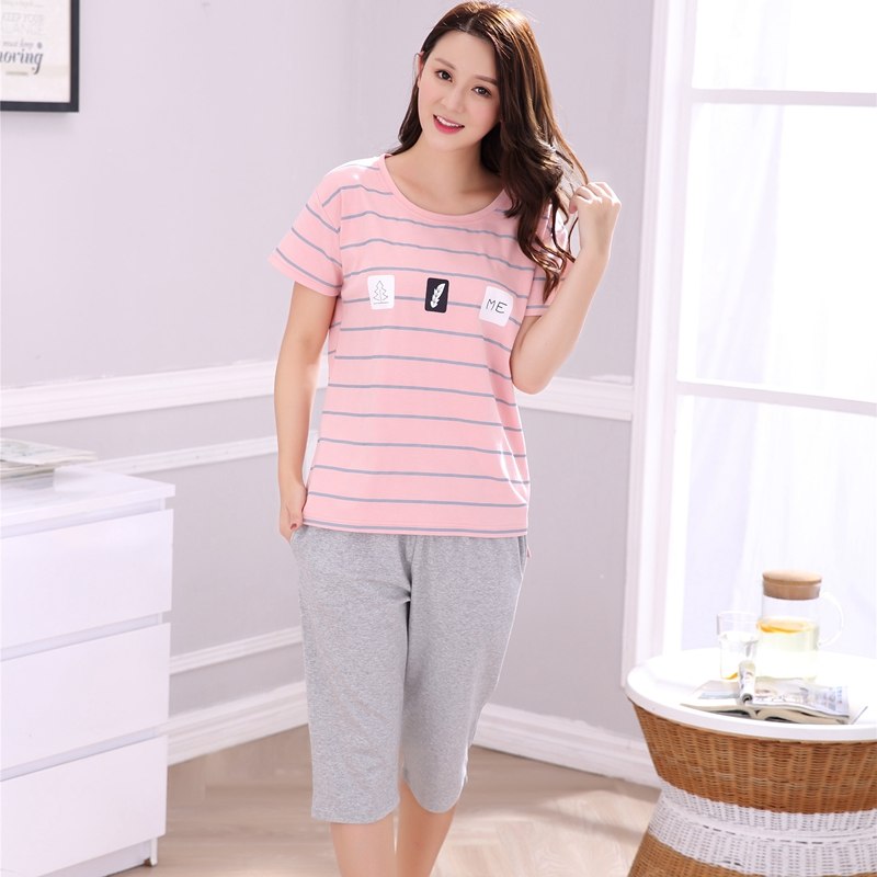 Plus Size Cotton Striped   Pajama     Sets   for Women Summer Short Sleeve Cartoon Pyjama Girls Knee Length Loungewear Homewear Clothing