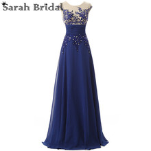 Elegant Floor Length Formal Evening Dresses Chiffon long Party Dresses with Appliques and Crystals Hot Sale SD064