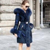Snowimage моды Высокое качество пальто средней длины Лоскутная большой меховой воротник Женская мода Тонкий Зима Костюмы